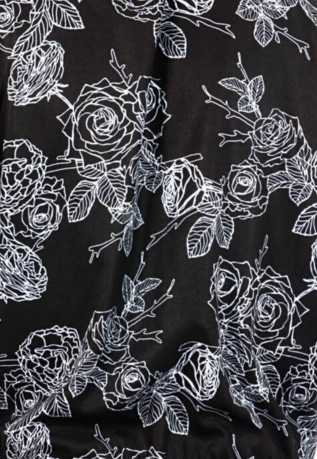 Macaquinho Floral Estampado Sem Gênero ElephunK Negativo Preto