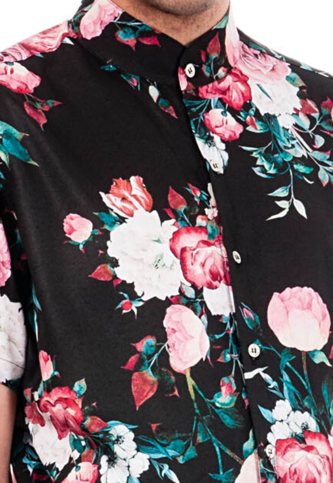 Macaquinho Floral Estampado Sem Gênero ElephunK Roseiral Dark Preto