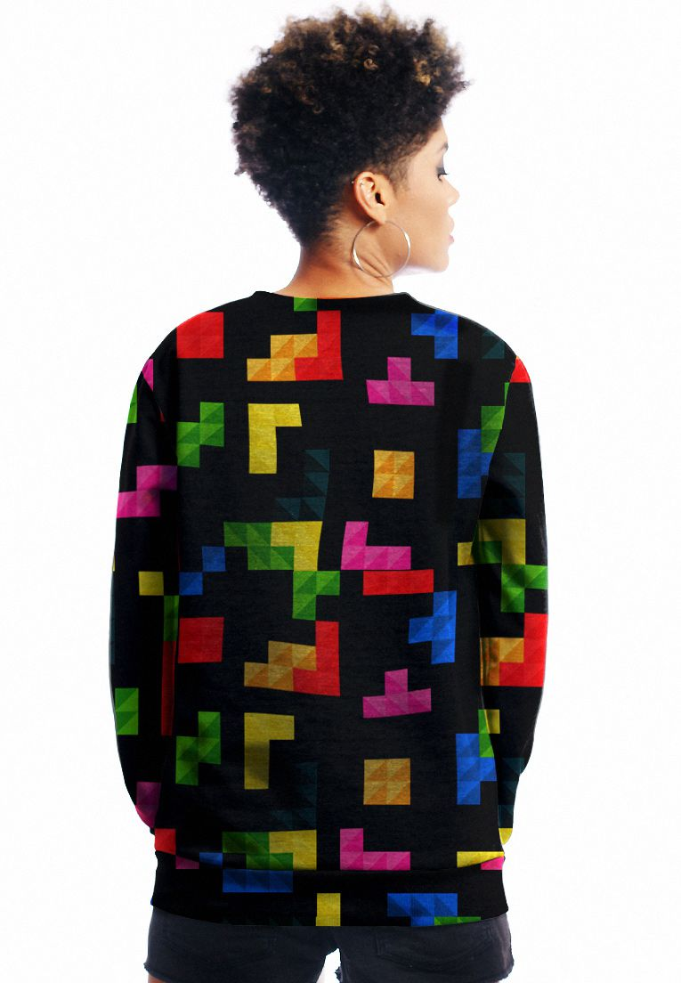 MOLETOM ESTAMPADO FULL PRINT UNISSEX GEEK TETRIS