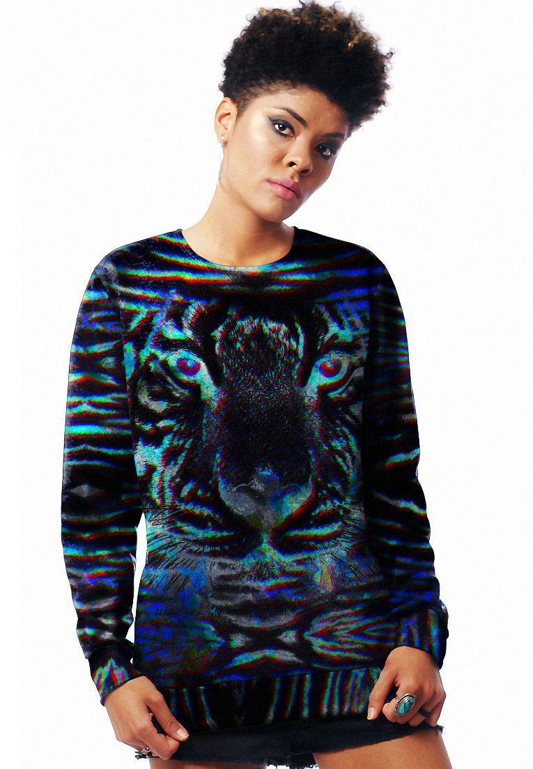Blusa Moletom Estampado Full Print Unissex Neon Animal Print Roupas Tumblr