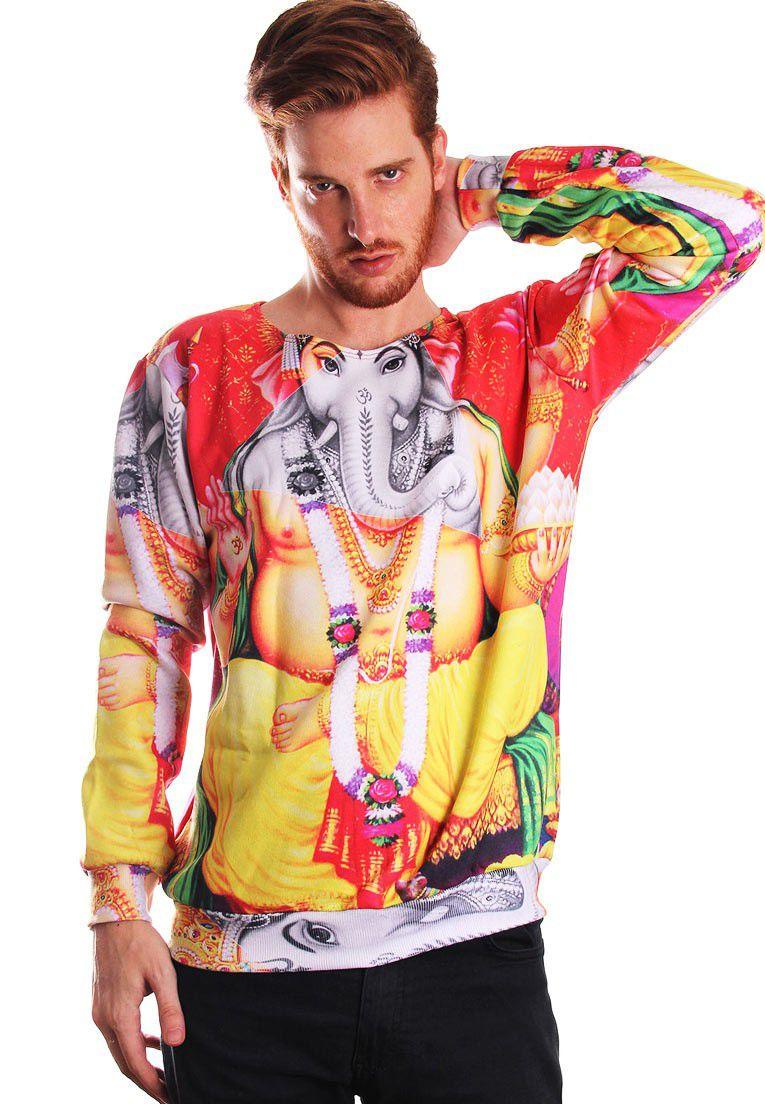 Blusa Moletom Indiano Estampado Full Print Unissex Ganesha