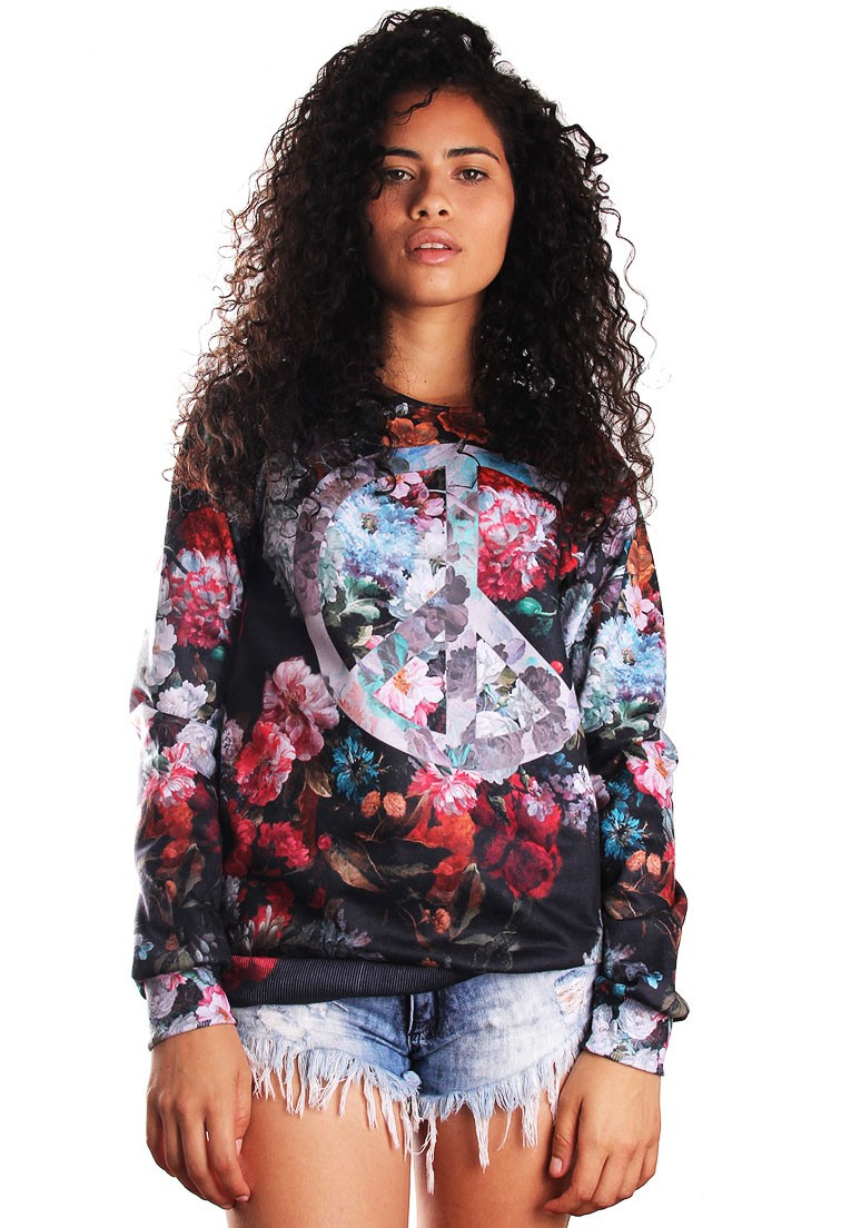 MOLETOM FLORAL ESTAMPADO FULL PRINT UNISSEX PEACE