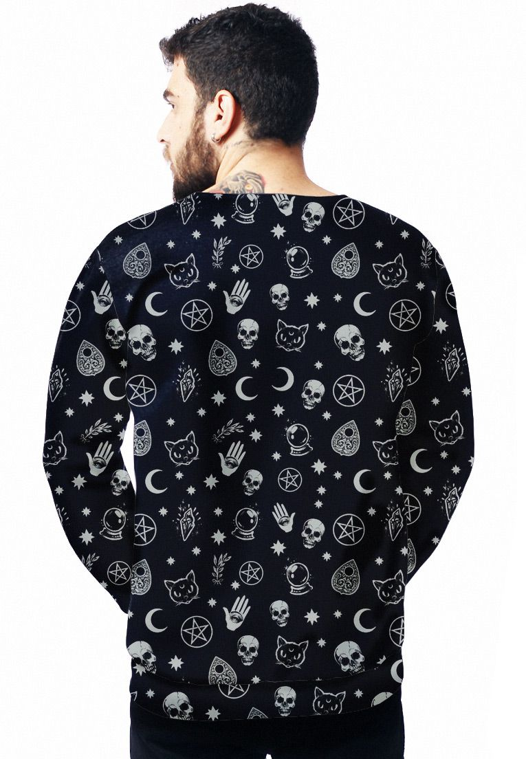 MOLETOM TUMBLR ESTAMPADO FULL PRINT UNISSEX BLACK MAGIC