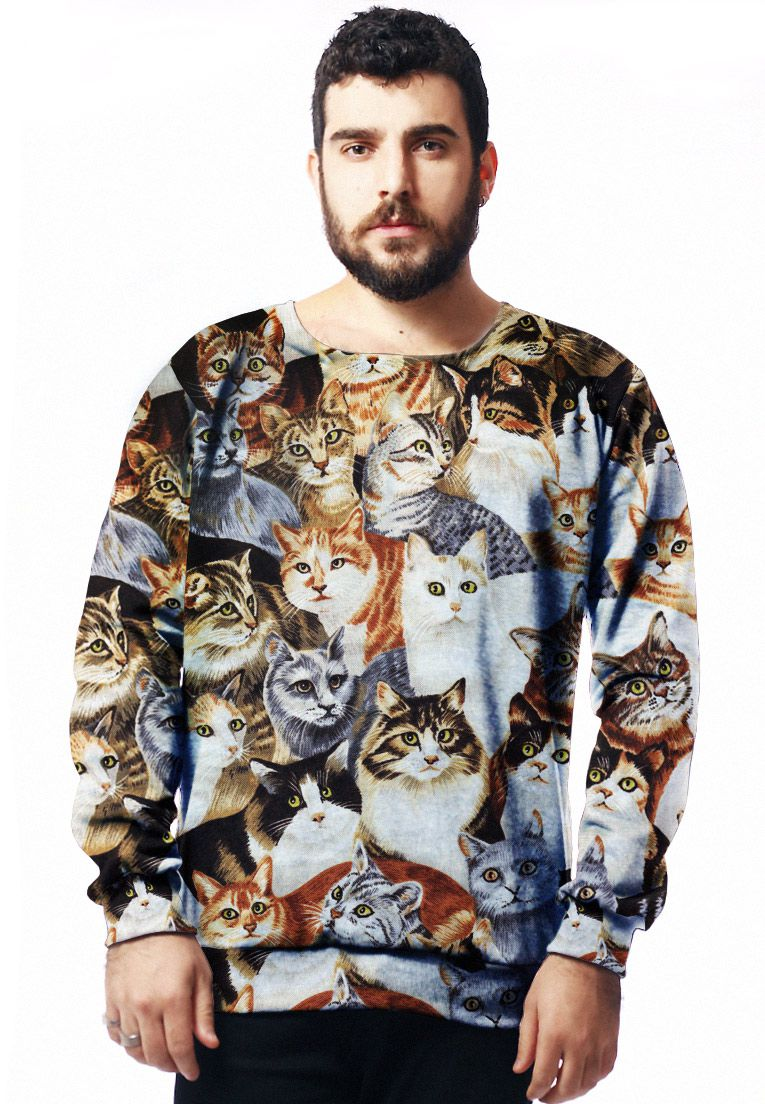 MOLETOM TUMBLR ESTAMPADO FULL PRINT UNISSEX GATÍNEOS