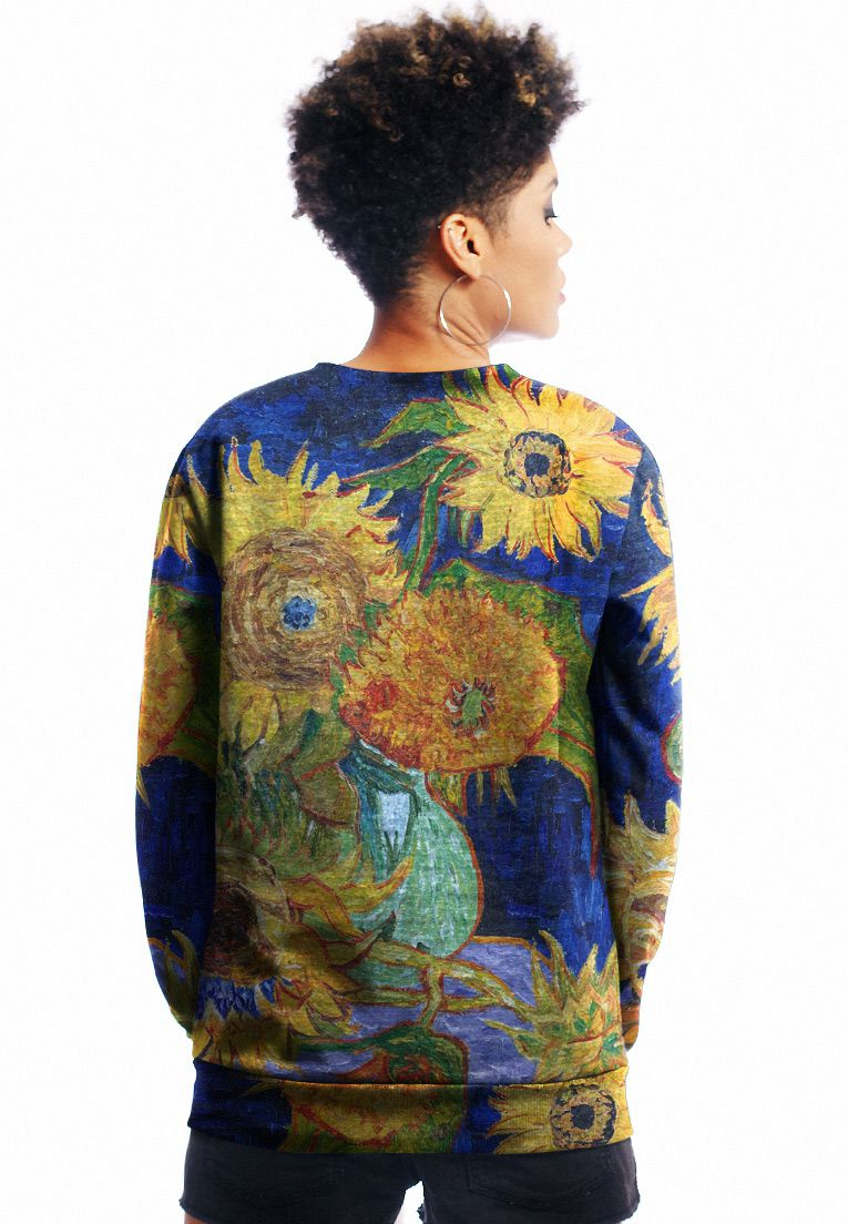 BLUSA MOLETOM VAN GOGH ESTAMPADO FULL PRINT UNISSEX SUNFLOWERS