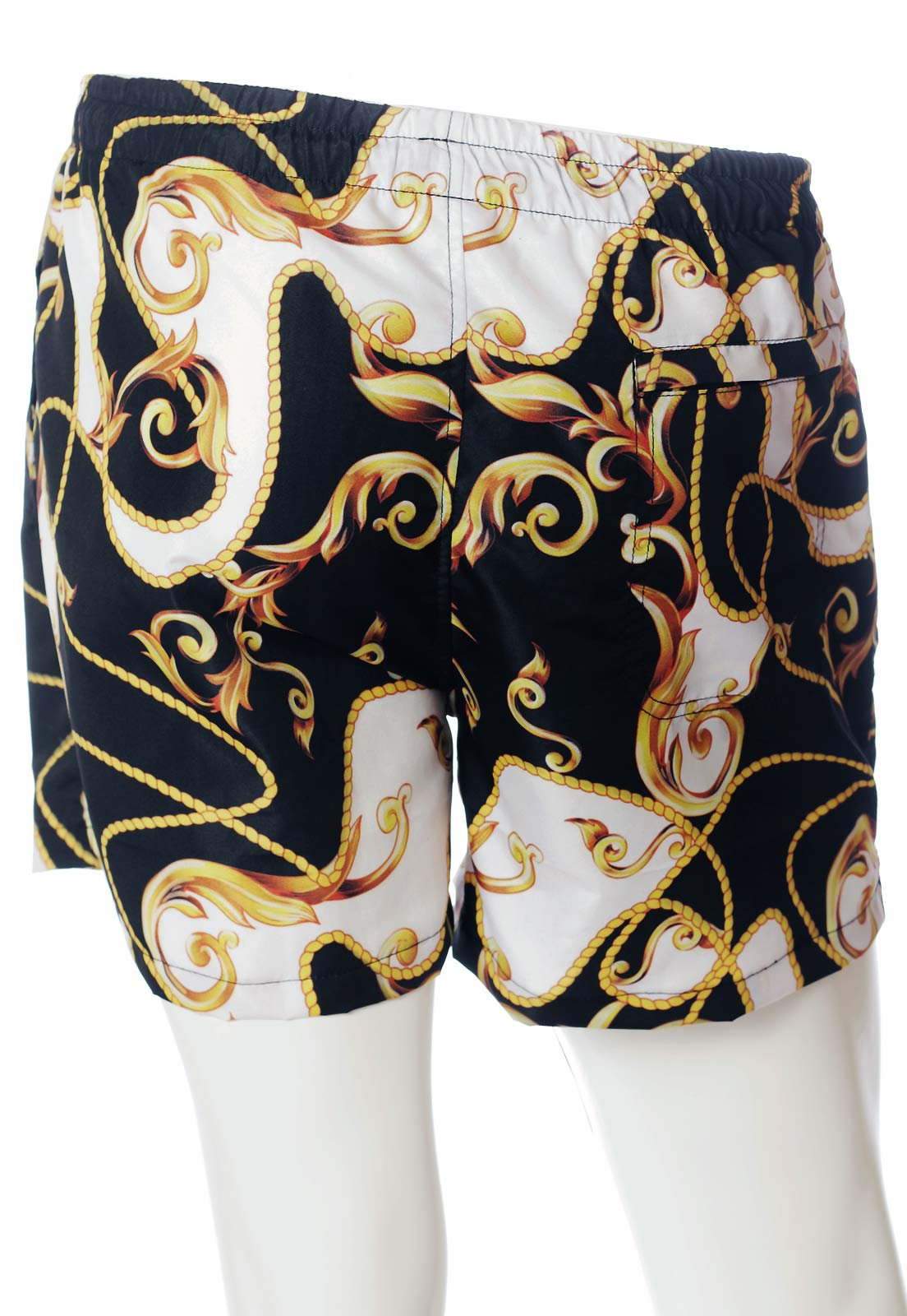 SHORTS BARROCO ESTAMPADO FULL PRINT UNISSEX WHITE-GOLD
