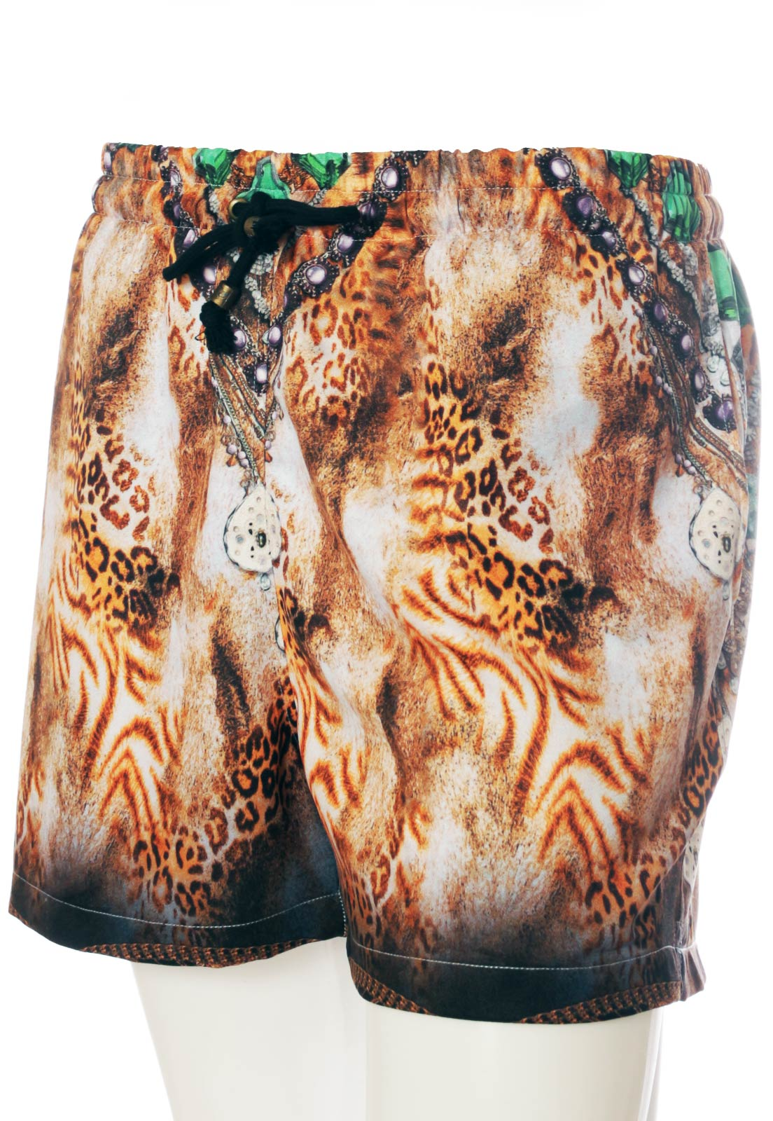 Shorts Estampado Animal Print Sem Gênero Diamonds Bege