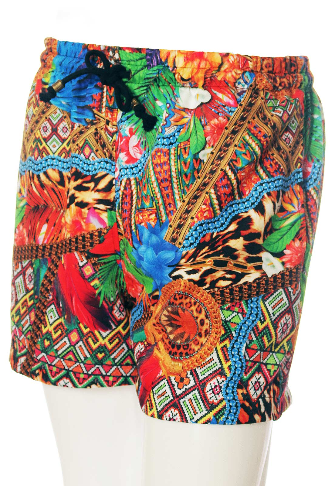 Shorts Estampado Animal Print Sem Gênero Multicultural Laranja