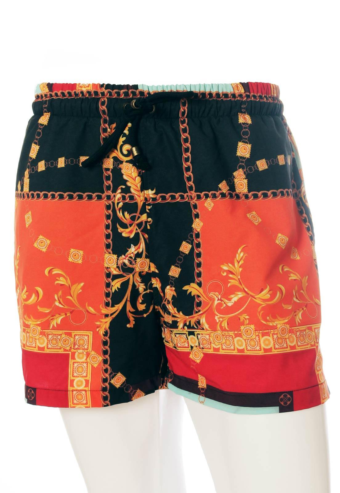Shorts Estampado Barroco Sem Gênero Lenços Preto