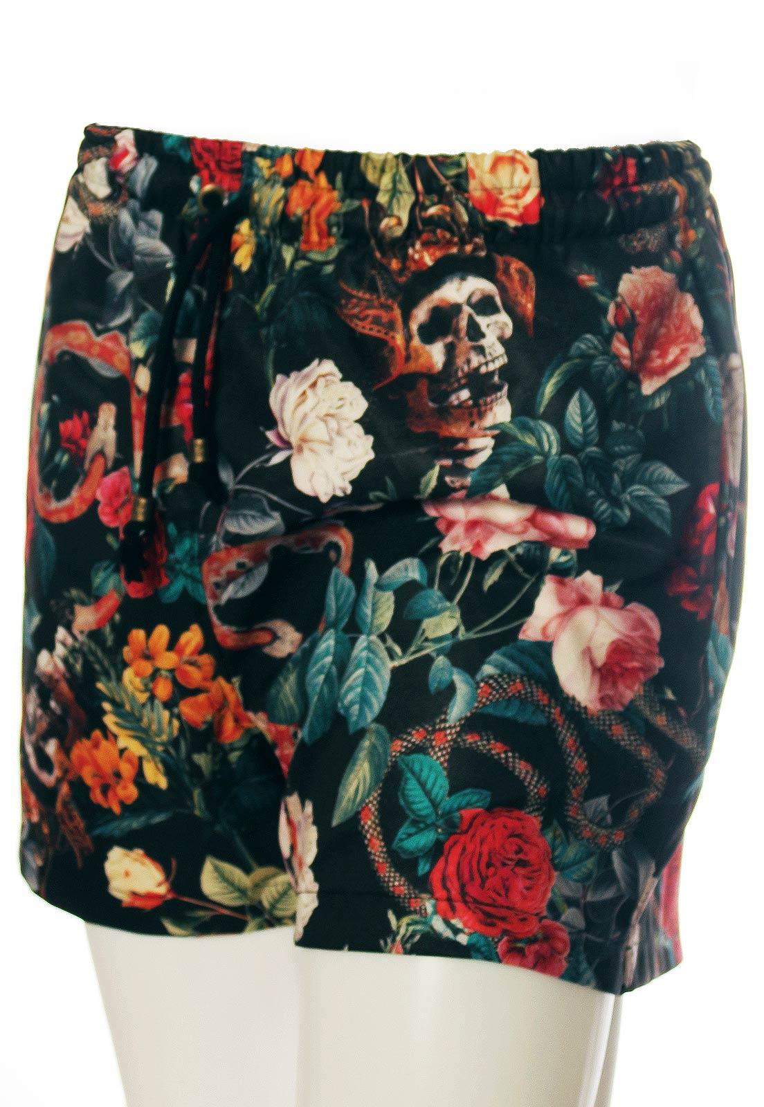Shorts Estampado Floral Sem Gênero Caveiras Cobras Preto