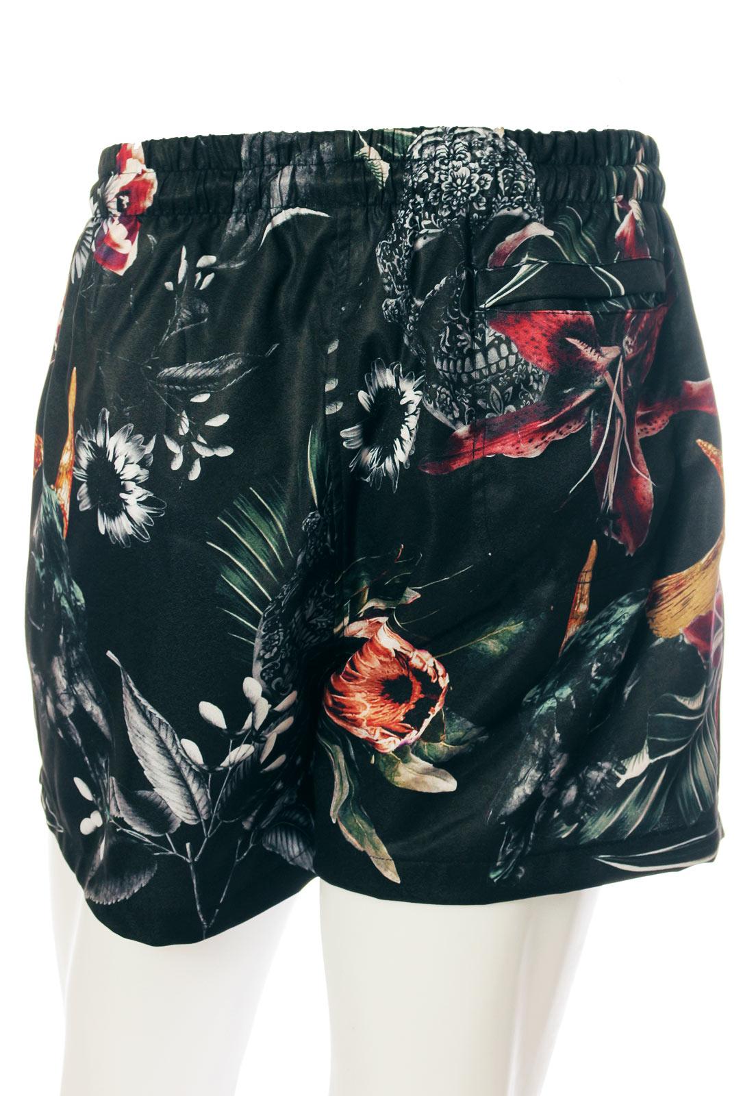 Shorts Estampado Floral Sem Gênero Caveiras Dark Preto
