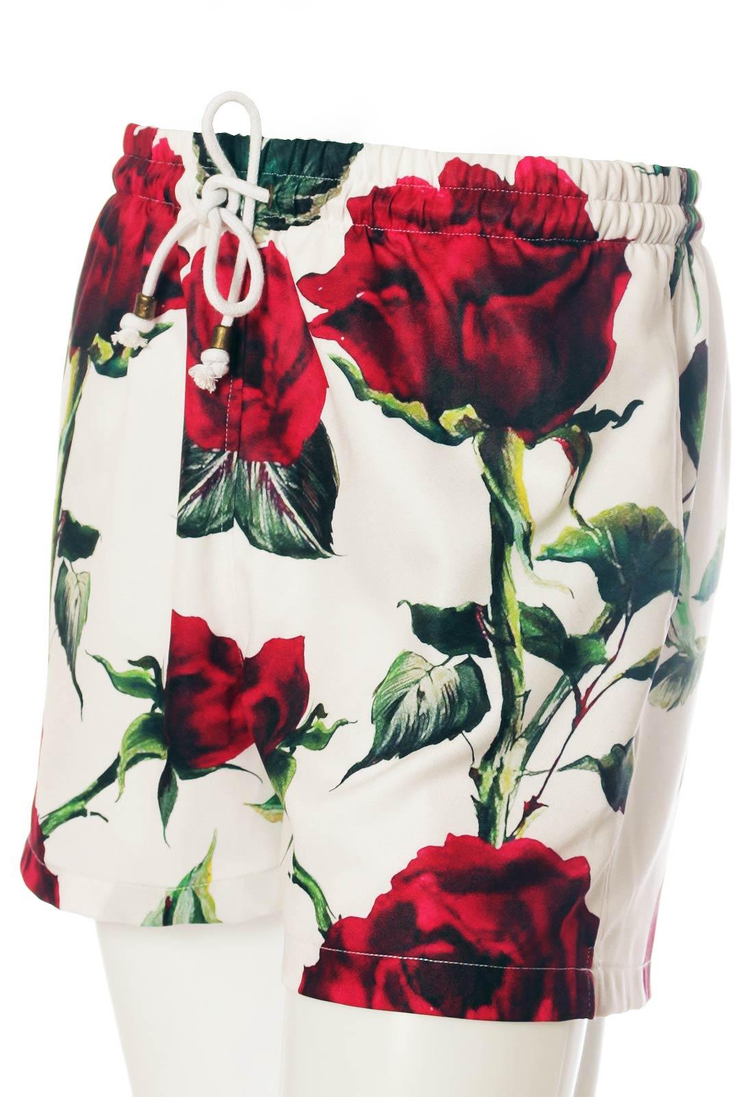 Shorts Estampado Floral Sem Gênero Haus Glam Branco