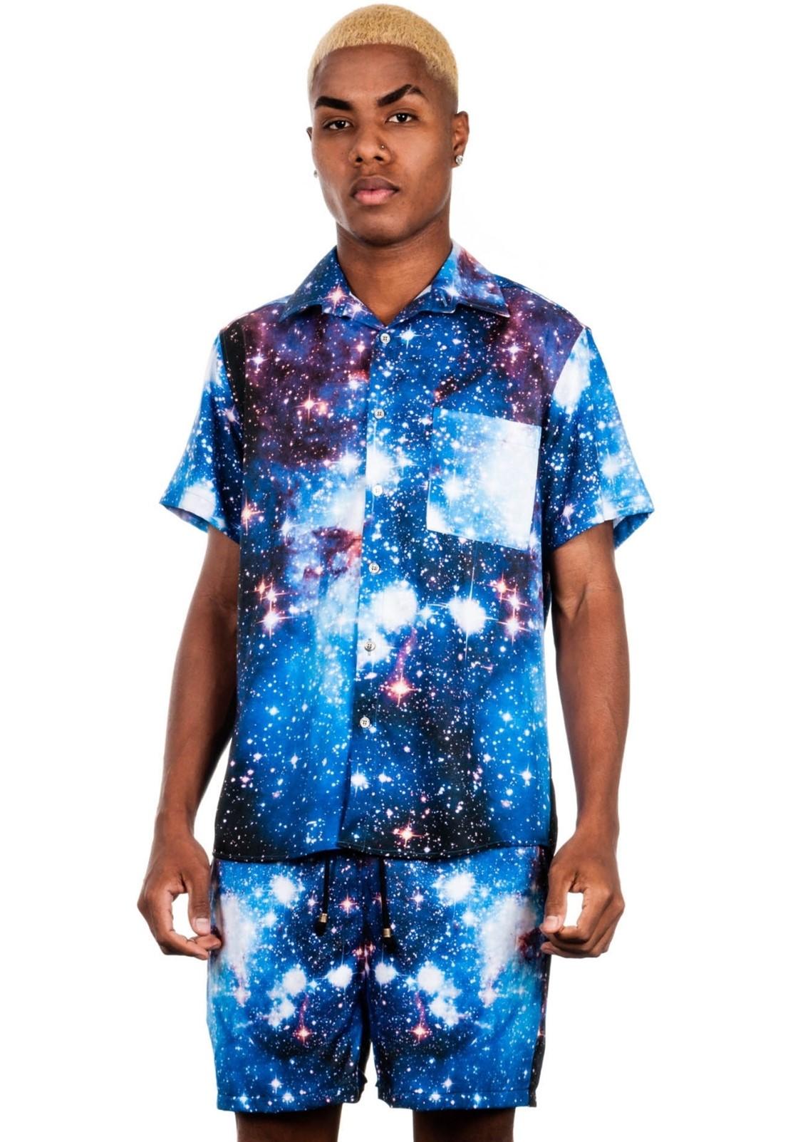 Shorts Estampado Galaxy Sem Gênero Universo Azul