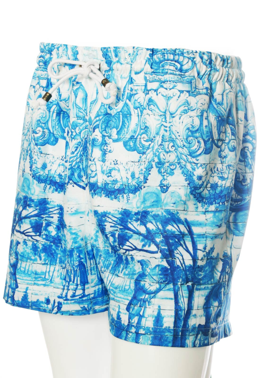 Shorts Estampado Sem Gênero Mirror Tiles Azulejo Português Azul