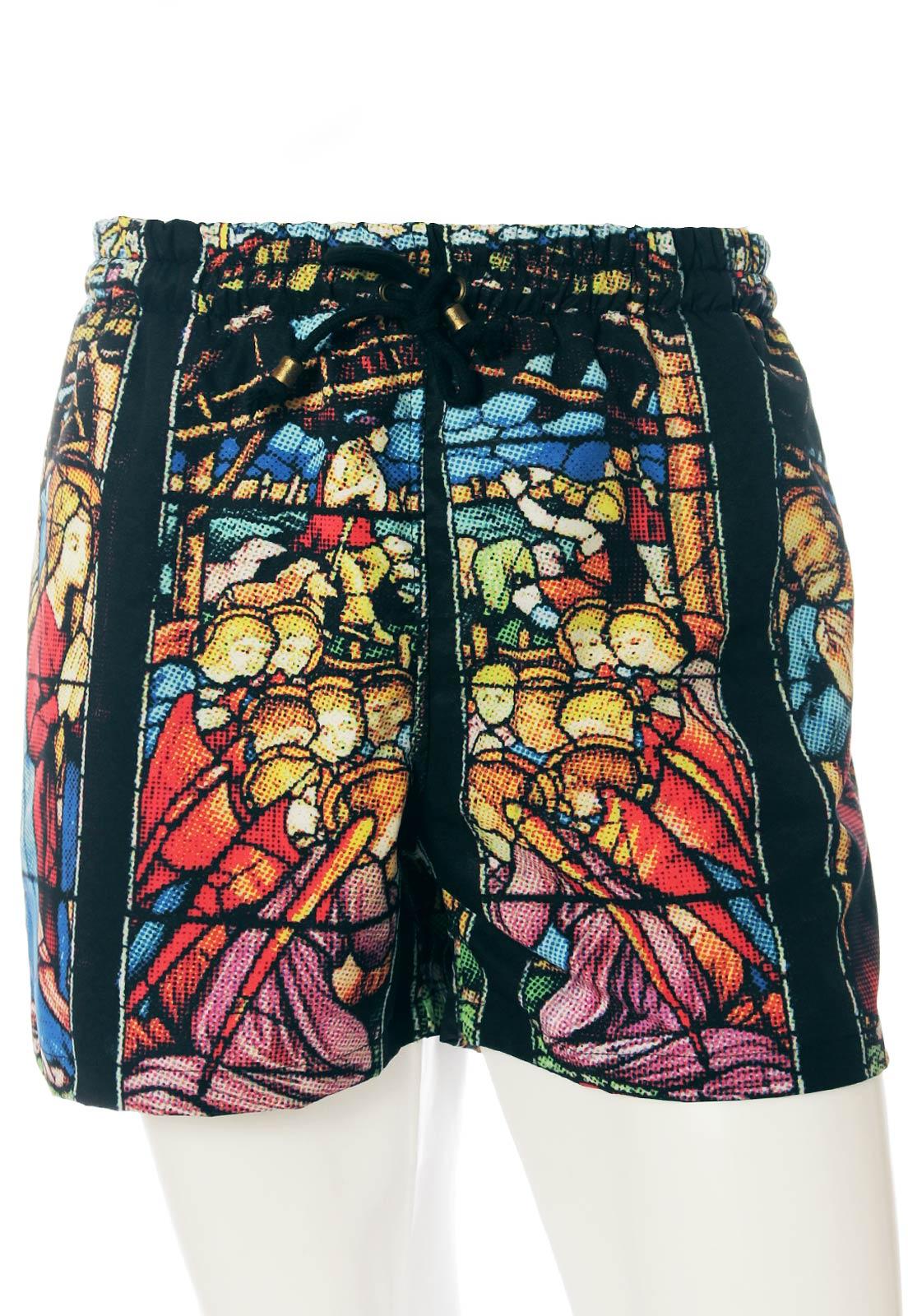 Shorts Estampado Sem Gênero Vitral Religioso Preto