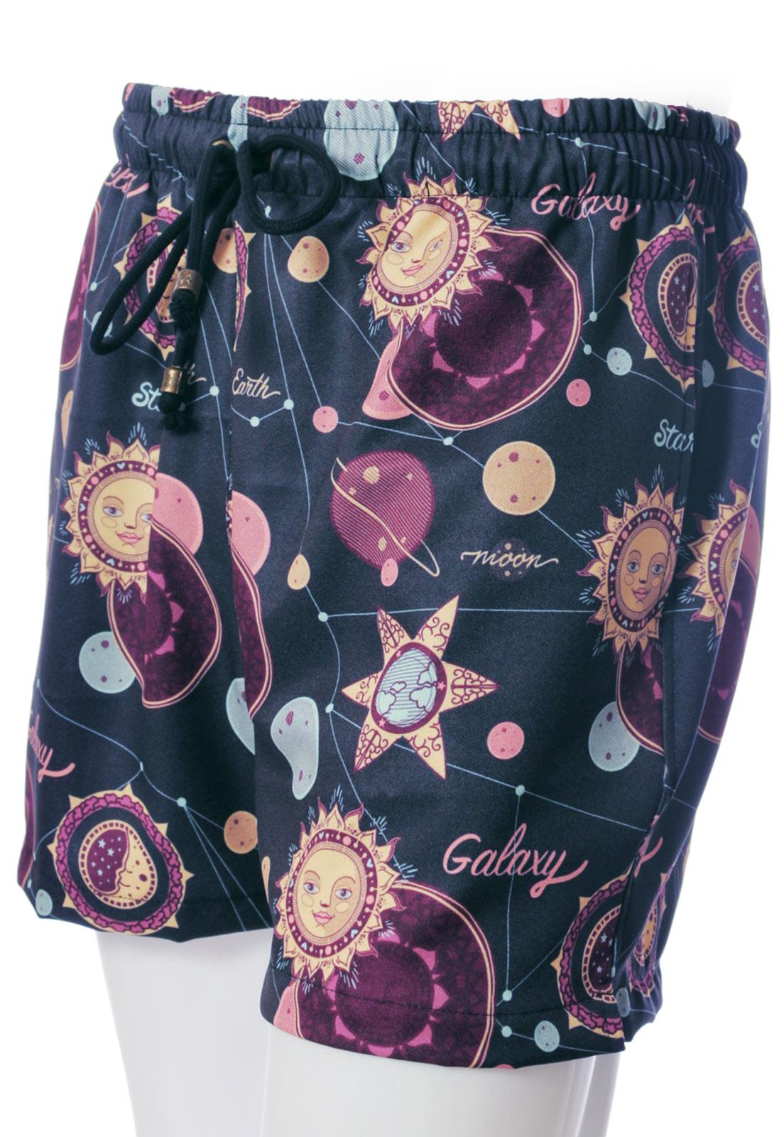 Shorts Estampado Signos Moon Star Earth Sem Gênero Azul Escuro