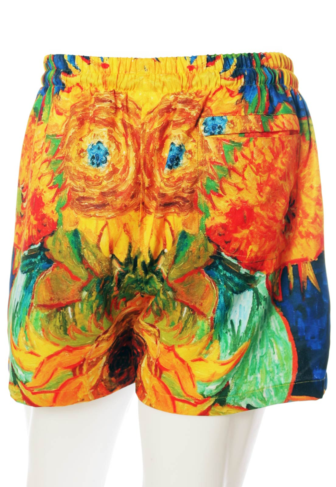Shorts Estampado Van Gogh Sem Gênero Girassóis Laranja
