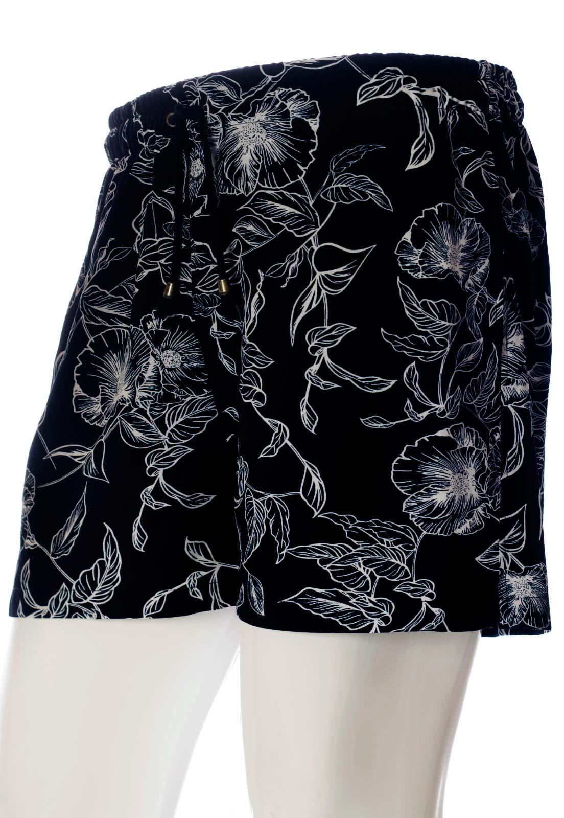 Shorts Floral Estampado Grace Florido Unissex Preto