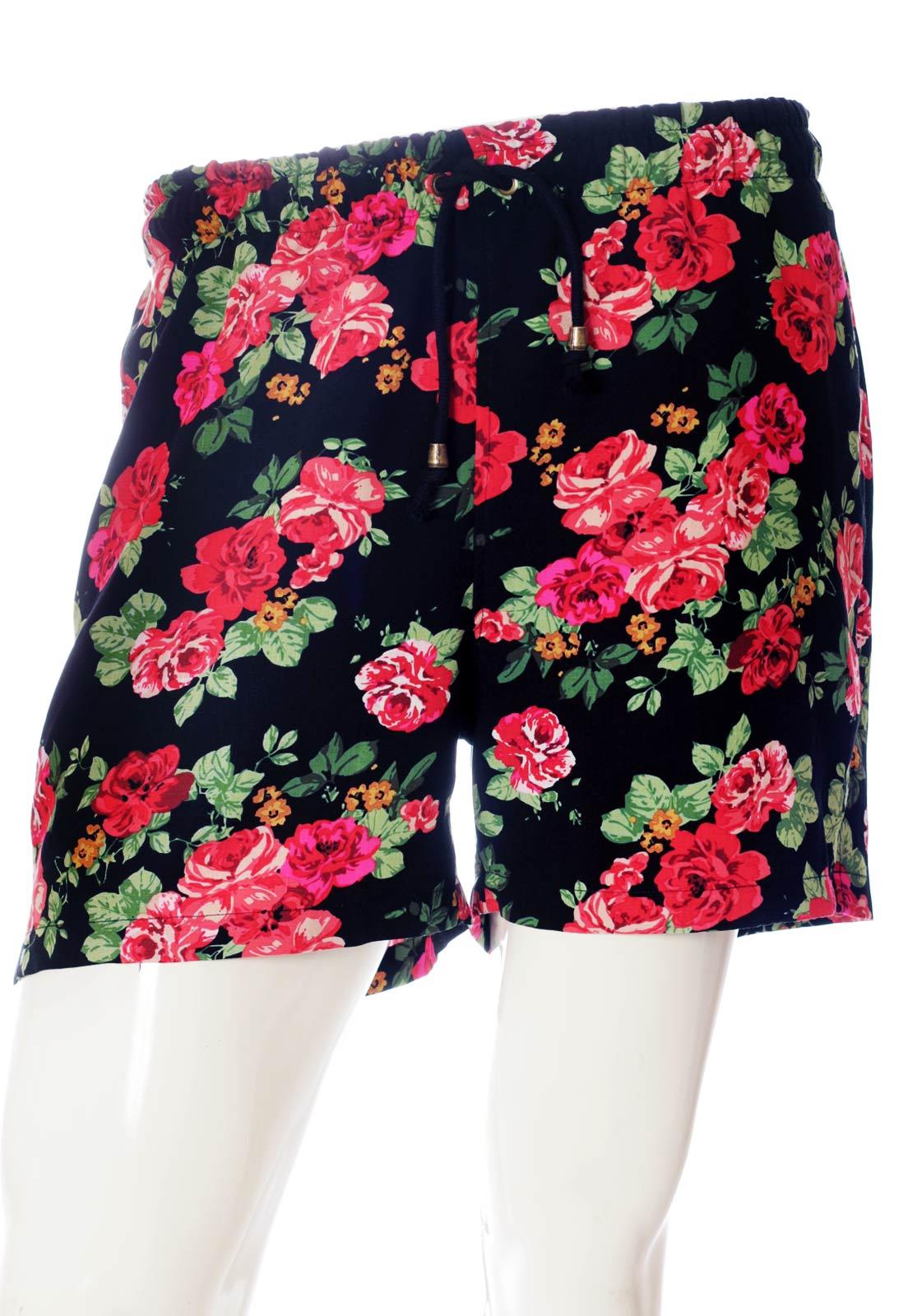 Shorts Floral Estampado Portland Florido Unissex Vermelho