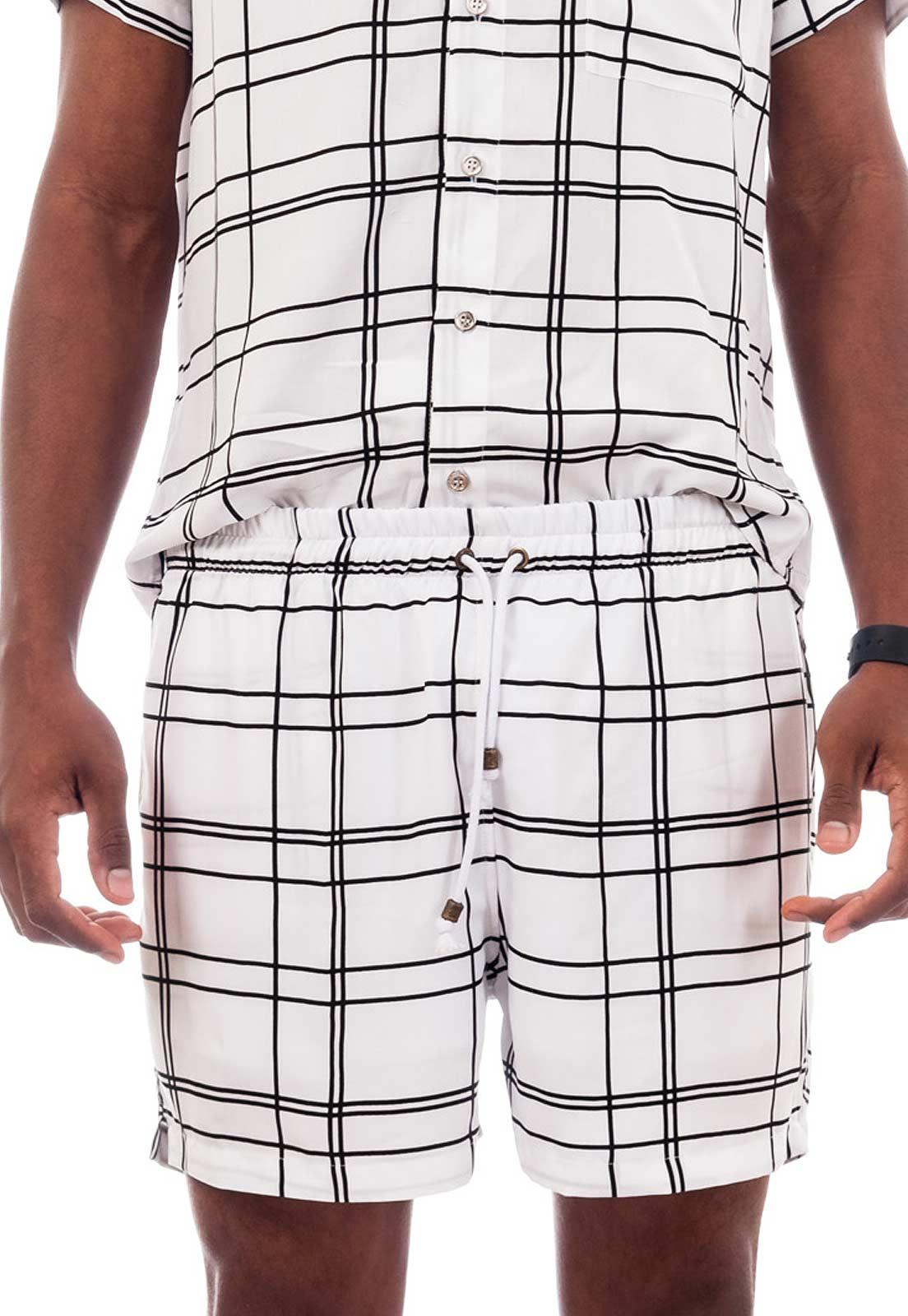 Shorts Listrado Estampado Minimalismo Listras Sem Gênero Branco