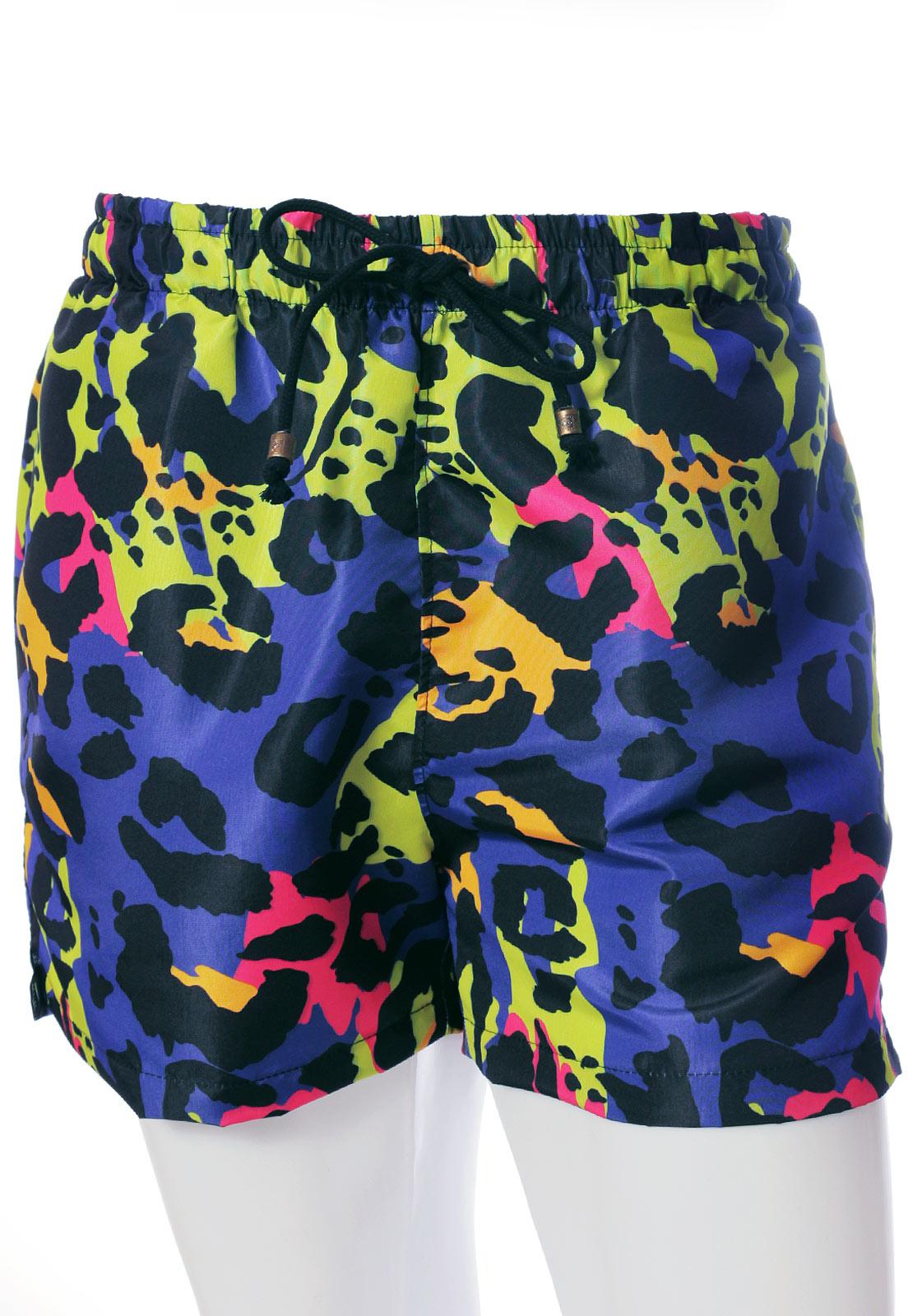 Shorts Neon Animal Print Estampado ElephunK Sem Gênero Roxo