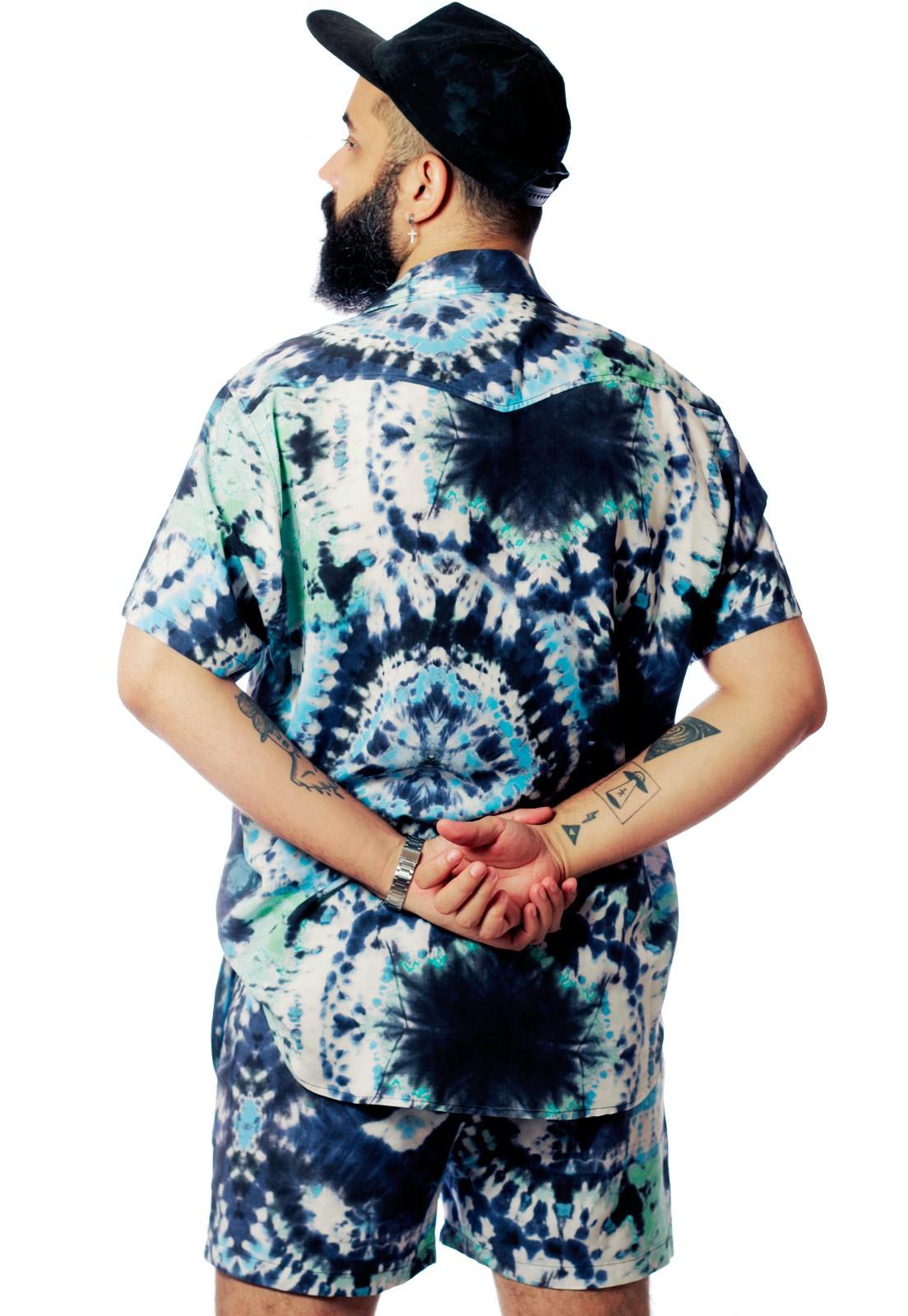 Shorts Tie Dye Estampado Tie Dye Print Unissex Spirit Azul