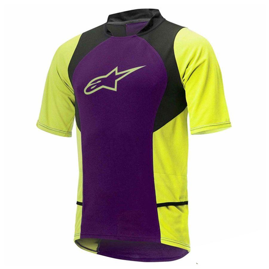 Camisa Alpinestars Sight Steel GreyDrop 2 Purple Acid Yellow