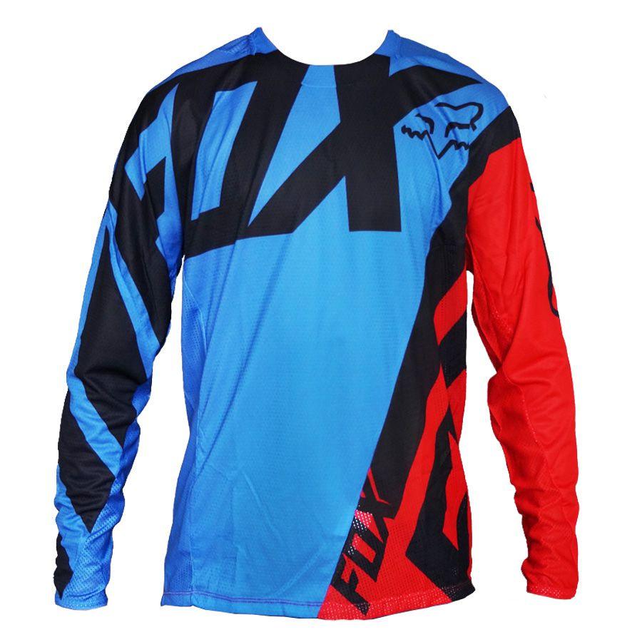 Camisa Fox Demo LS | Blue / Red