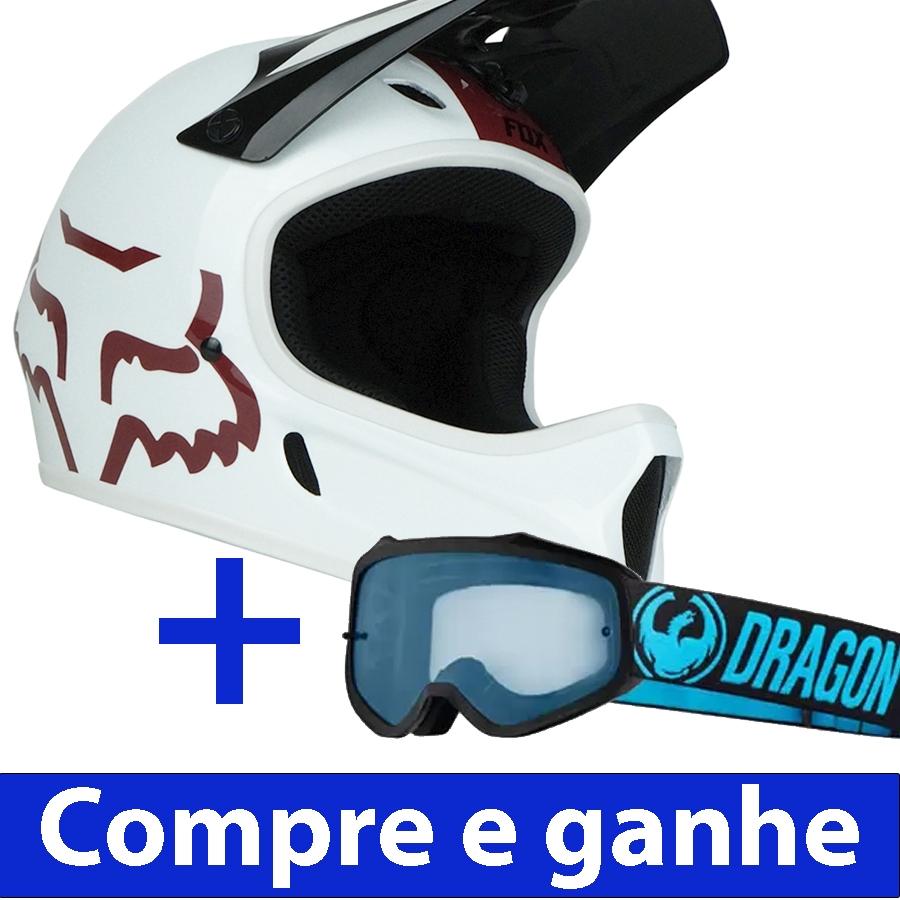 Capacete Downhill Fox Rampage + Brinde Óculos Dragon MXV