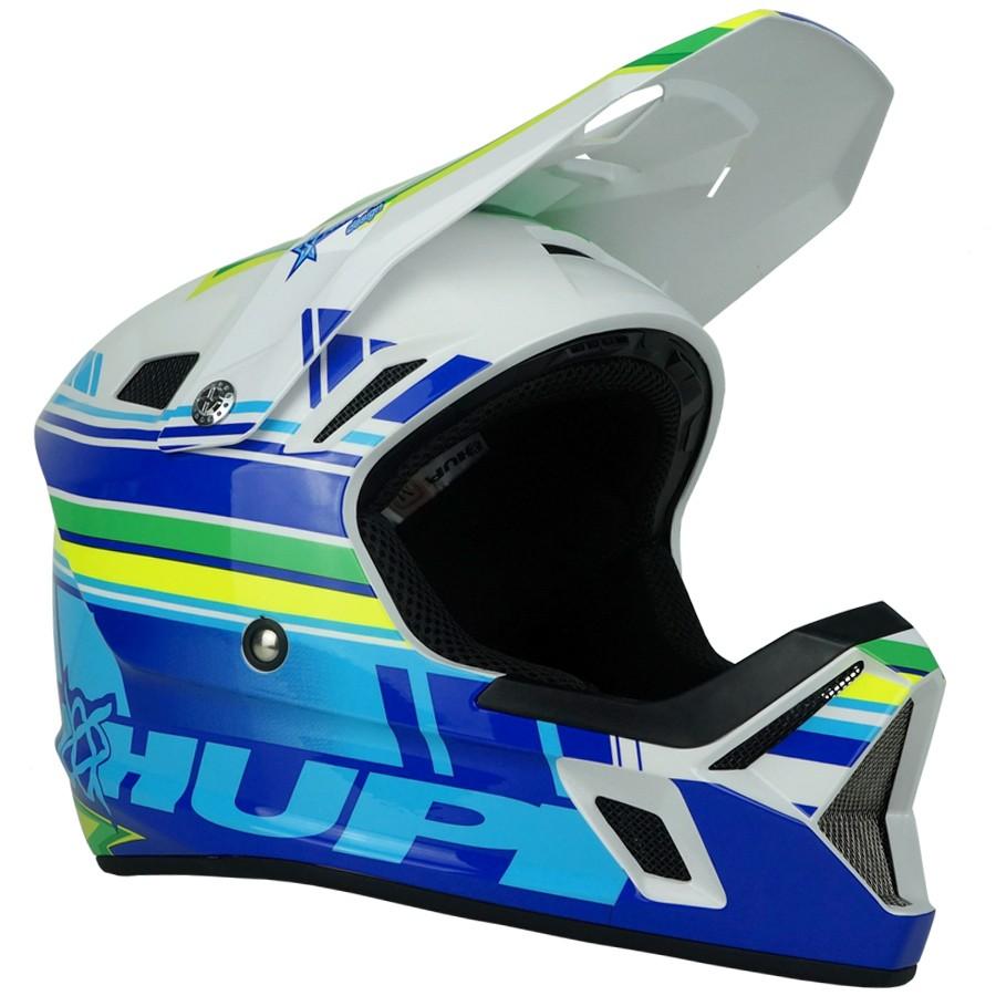Capacete Downhill Hupi DH-3 | Branco e Azul