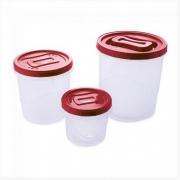 Conjunto Porta Mantimentos Clic Rosca - 3 peças - Vermelho