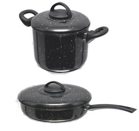 Conjunto Caldeirão e frigideira Esmaltado Manolar