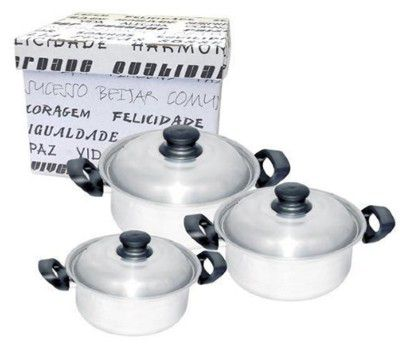 Conjunto de Caçarolas De Alumínio Luxo Marmicoc 3 Peças