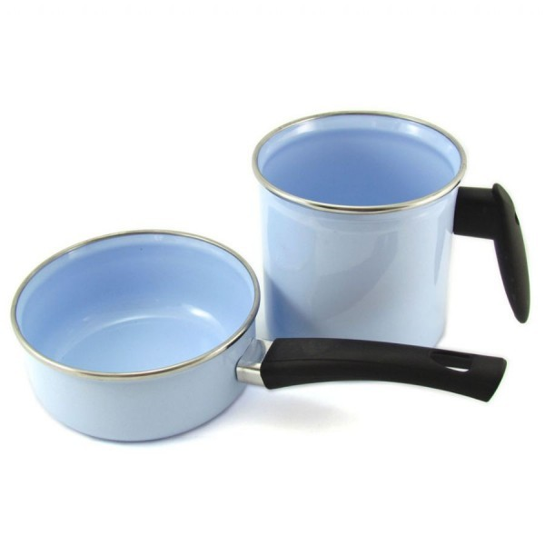 Conjunto de Papeiro e Leiteira Esmaltado Azul Metallouça
