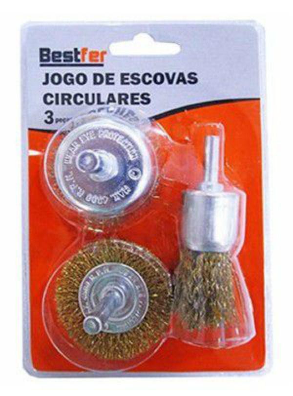 Conjunto Escovas Circulares de Aço Latão 3 Peças Bestfer