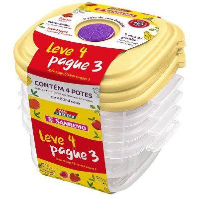 Conjunto Leve4 Pague3 POTE Plástico SANREMO SR450-7 Amarelo