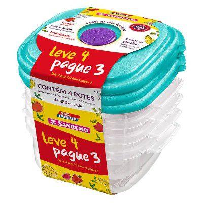 Conjunto Leve4 Pague3 POTE Plástico SANREMO SR450-7 Azul Turquesa