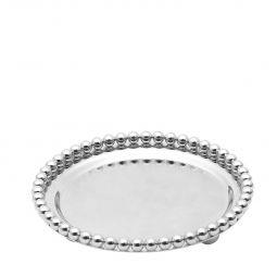 Bandeja redonda 13,3 cm de zamac banhado em prata Balls Lyor - L3756