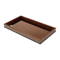 Bandeja, suporte 46,5 cm de madeira com vidro bisotê marrom Diamond Woodart - 11981