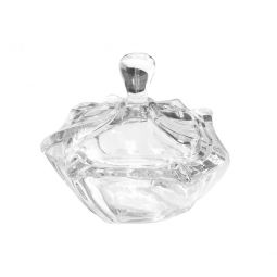 Bomboniere 4,5 cm de cristal transparente com tampa Neptune Wolff - 26106