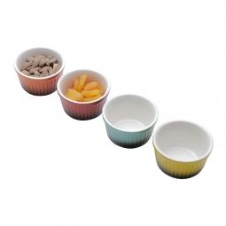 Conjunto 4 petisqueiras Cute Round de porcelana coloridas Bon Gourmet - 35536