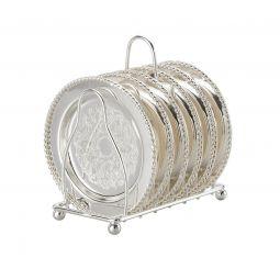 Conjunto 6 porta-copos de zamac prateado com suporte Lyor - L3380