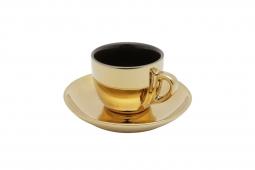 Conjunto 6 xícaras 220ml para chá de porcelana preto/dourado com pires Versa  Wolff - 35530
