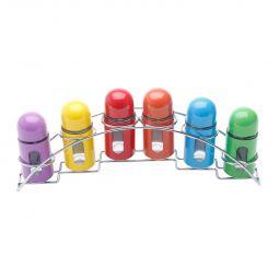Conjunto 7 peças porta temperos de aço inox e vidro colorido com suporte Bon Gourmet - 25799