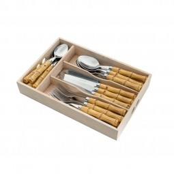 Faqueiro 24 peças de aço inox com cabo de plástico Bamboo Bon Gourmet - 35354