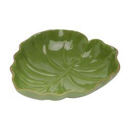 Folha decorativa 16 x 15,5 cm de cerâmica verde Lyor - L3871
