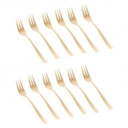 Jogo 12 peças garfo para sobremesa de aço inox PVD dourado Pisa Wolff - 71196