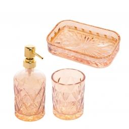 Jogo 3 peças para banheiro de vidro  Diamond Âmbar Royal - 61233