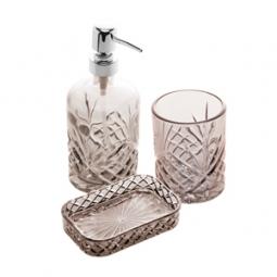 Jogo 3 peças para banheiro de vidro Minsk prateado Royal - 61238