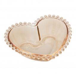 Jogo 4 bowls 12 cm para sobremesa de cristal âmbar coração Pearl Wolff - 28397